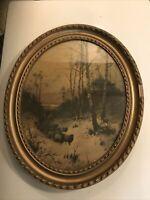 "Antique Landscape Sheep Man On Horse In Antique Oval Gesso Frame 19x23"""