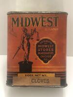 Vintage Rare Midwest Brand 2 Oz Spice Tin - Chicago ILL