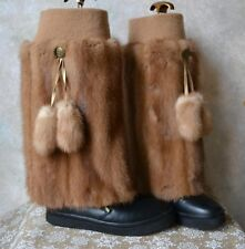 GENUINE real MINK FUR LEG WARMERS / BOOT COVERS furry legwarmer, fits UGGs