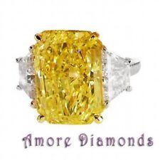 9.3 ct GIA fancy intense yellow vvs1 radiant cut trapezoid diamond ring platinum