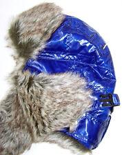 FASHION WOODLAND by ISOTONER WINTER BRIGHT BLUE HAT w/FAUX FUR TRIM / ONE SIZE