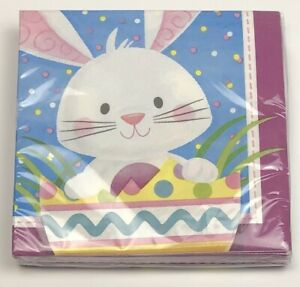 """24 ct. 12.9"""" Confetti EASTER BUNNY Spring purple blue yellow LUNCH NAPKINS NEW"""