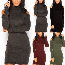 Women Winter Turtleneck Long Sleeve Cold Shoulder Knitted Bodycon Casual Dress