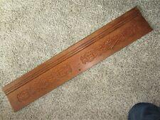 Tiger Oak Embossed Carved Furniture Pediment Victorian Ornate Cabinet Old Header
