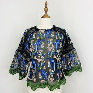 Topshop Womens Embroidered Top Floral Bird Sheer Size 12 NWT