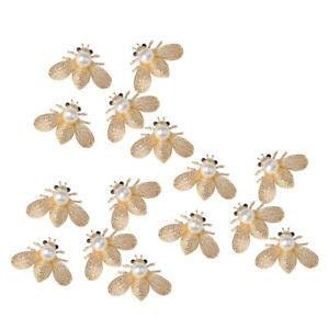 15x Bee Shape Alloy Crystal Pearl Embellishment for DIY Wedding Phone Craft 40mm