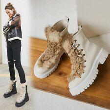 Womens Vogue Leather Rabbit Fur DEcor Lace Up Combat Biker Ankle Boots Shoes BGH