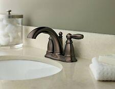 Two Handle Low Arc Bathroom Faucet w/ Drain Assembly Oil Bronze Moen Brantford