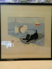 Sweet Framed Scottish Terriers Print - Water Fun At The Beach - Euc