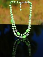 Japan - spring green glass bead two strand silver tone  NECKLACE