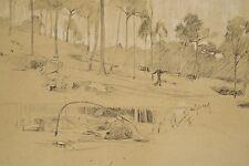 Jules PONCEAU 1881-1961 Dessin 1905 Paysage Bois de Clamart Hauts de Seine