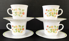 Vintage Corelle Strawberry Sundae Coffee Cup & Saucers 4 Sets