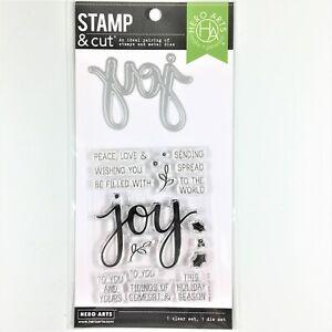 Hero Arts Stamp & Cut Joy Clear Stamp Die Set Christmas Holiday Greetings