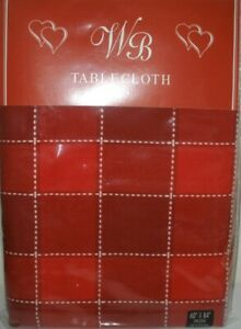 New WB Red Checkered Tablecloth Nappe Valentines Day Holiday Table Linen 60 X 84