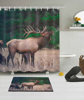 """Forest Scenic Elk Shower Curtain Liner Bathroom Mat Rugs Polyester Fabric 72X72"""""""