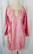 Vintage Asiático India Bordado Vestido Túnica Tradicional Ropa Satén S M Rosa