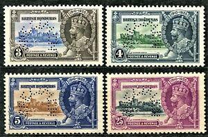 British Honduras 1935 Jubilee SPECIMEN set, SG 143s - 146s, no gum, CV £120
