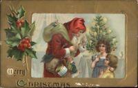 Christmas - Santa Claus & Children Red Hood Gold Border c1910 Postcard