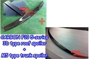 Carbon Fiber BMW 11~16 F10 5-series Sedan 3D type roof + M5 type trunk spoiler ◎