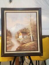 "Mountain Creek Cabin, Original Landscape Oil signed on Canvas in frame 25X21"""