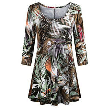 Fashion Womens Tunic Tops Floral Shirts Sleeves O-Neck Ladies Shirt Blouse AGL