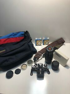 Pentax ME SE 35mm film camera with 3 lenses In Near Mint Condition! W/ Bag And.