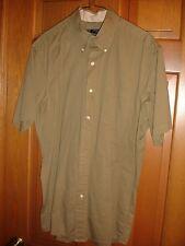 Saddlebred men's button down shirt size L Large SS USED WORN khaki dark tan