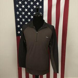 2XL Patagonia Base Layer 1/4 Zip Wicking Shirt men's brown hiking l/s 4f225p