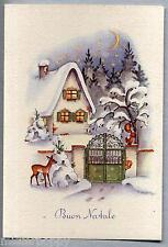 Paesaggio di Neve Illustratore Italiano BUON NATALE XMAS PC Circa 1950