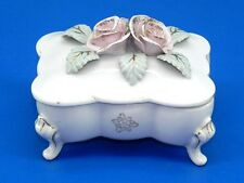 BOND WARE JAPAN L&M Porcelain CIGARETTE Trinket Box PINK FLOWER WHITE