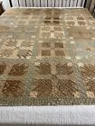 Antique Homespun Fabric Handmade Hand Quilted Bear Paw Quilt 72x75 twin #814