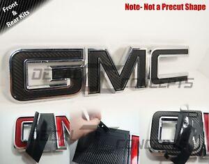 07-20  GMC Sierra Yukon Carbon Fiber Front/Rear Emblem Overlay decal WRAP 2 kits