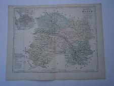 Carte 19° 1852  couleur atlas Malte brun Département de la Marne plan de Châlon