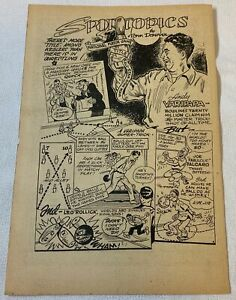 1949 cartoon page ~ ANDY VARIPAPA champion trick bowler, Joe Valcaro, Leo Rollic