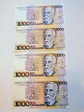 Brazil - 1000 Cruzados Paper Money - Circulated - Stamped - 1989 (Set of 4)