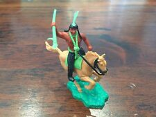 """Timpo 2nd Series Indian Brave Mounted - """"Lime Green"""" - Wild West - 1960s"""