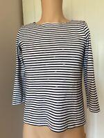 Joules Jumper Ladies Womens Size 10 Black White Stripe Sweatshirt Tshirt Top