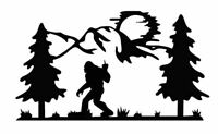 Vinyl Decal Sasquatch Bigfoot F-OFF Mountain Moon Scene 20 Colors Car Truck #949