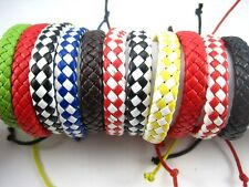 wholesale 24pcs mixed colours leather bracelets adjustable job lot