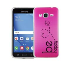 Funda para móvil Samsung Galaxy J3 Sé Feliz FUCSIA Estuche diseño ligera tpu