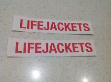 BOAT BOATING LIFEJACKET 2 SET STICKER MERCURY YANMAR  HONDA YAMAHA SUZUKI