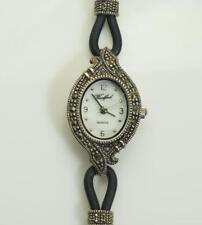 Woodford Ladies 1715 Sterling Silver And Marcasite Set Watch With Cord Strap