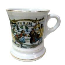 Mustache Cup Mug Vintage Currier Ives Ceramic The Skating Pond Gold Trim