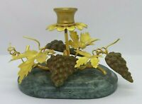 Petit Choses Single Grapes and Brass Leaves Candle Holder with Marble Base