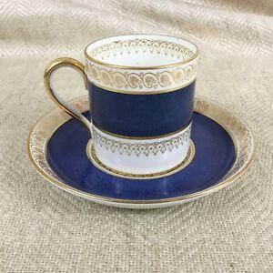 Crown Staffordshire  Demitasse Cup & Saucer Duo Blue & Gold Art Deco Vintage