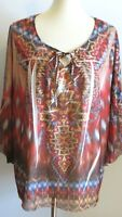 One World Womens Plus 1X loose flowy tunic multicolor blouse festival boho shirt