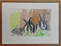 John Bratby RA listed artist. Original Pastel Crayon study of Dutch Rabbits 1980