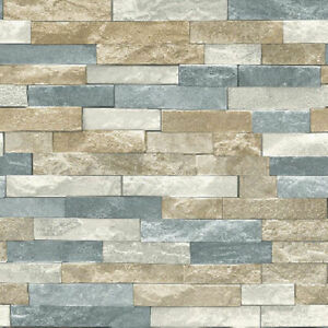Arthouse Azure Slate Multi Natural Wallpaper 697000 - Perfect for a Feature Wall