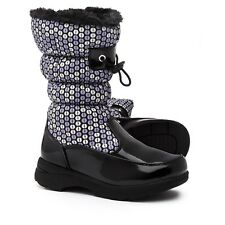 TOTES Kids Girls Black/Purple Dotty Fleece Lined WATERPROOF Winter Boots size 12