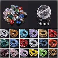 72Pcs 8mm 32 Facets Faceted Czech Crystal Glass Loose Beads DIY Jewelry Making